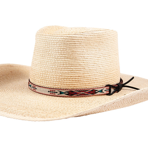 "Sunbody Hat Band Hitched Web 1/2"" Palm / Red Front"