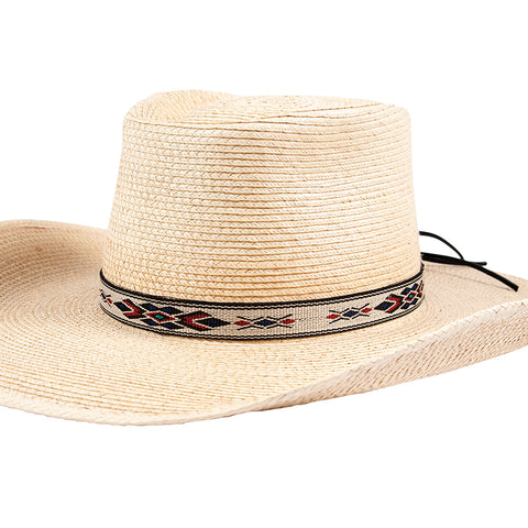 "Sunbody Hat Band Hitched Web 3/4"" Blue Diamond Front"