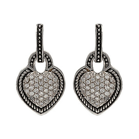 Montana Silversmiths Vintage Charm Quilted Heart Drop Earrings ER2232