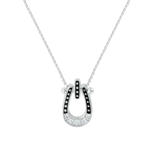 Studded Ice Horseshoe Necklace NC3022