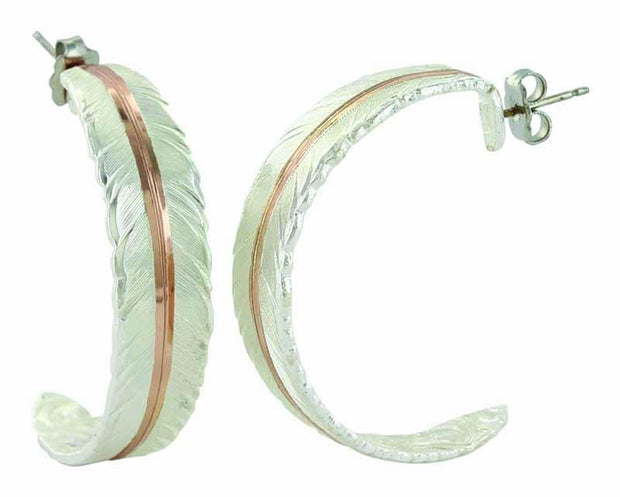 Montana Silversmiths Feather Rose Gold Vein Hoop Earrings