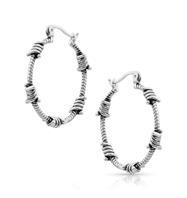 Montana Silversmiths Barbed Wire Hoop Earrings