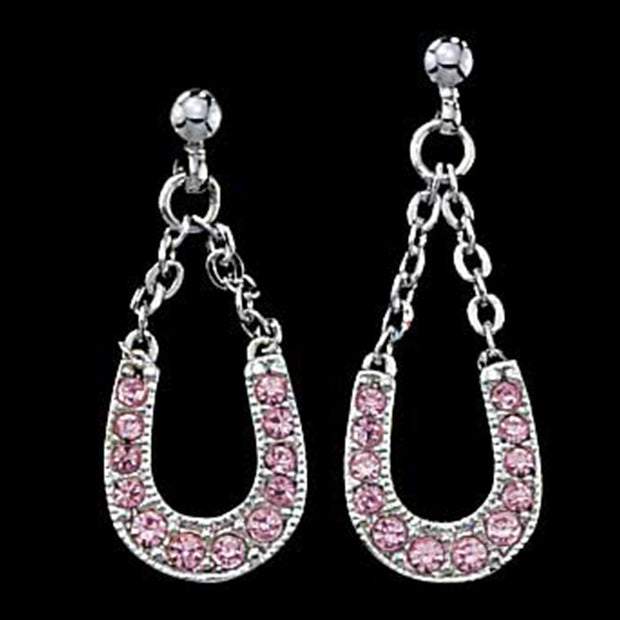 Montana Silversmiths Pink Ice Lucky Horseshoe Dangle Earrings ER801PK