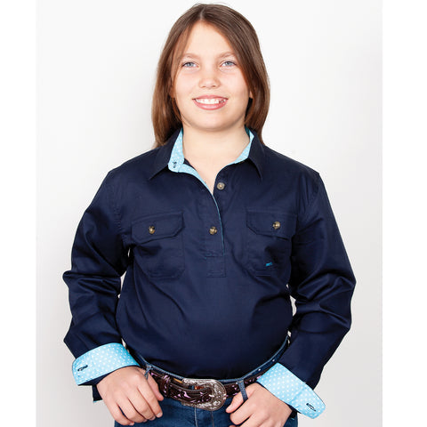 Just Country Girl's - Kenzie Trim - 1/2 Button Navy GWLS2023