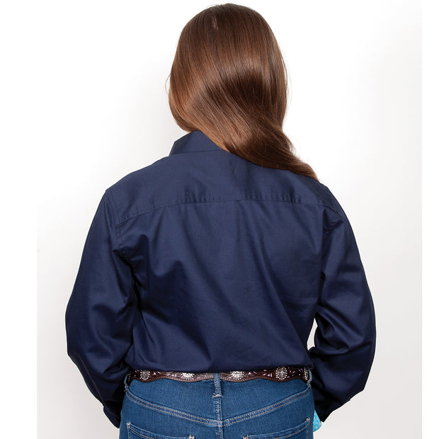 Just Country Girl's - Kenzie Trim - 1/2 Button Navy GWLS2023 back
