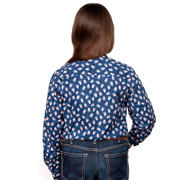 Just Country Girl's - Harper - 1/2 Button Navy Candy GWLS2034 back