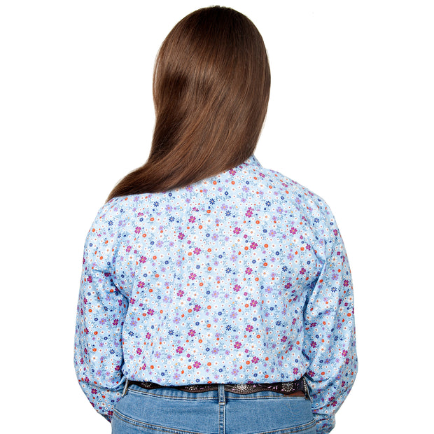 Just Country Australia Girl's - Harper - 1/2 Button Light Blue Floral GWLS2101 back