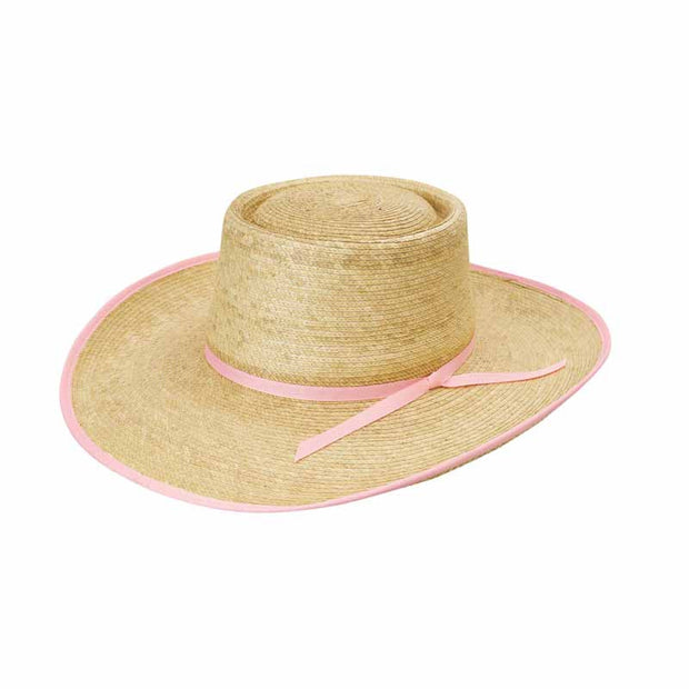 "Sunbody Hats Reata Oak 4"" Brim Oak/Light Pink Bound Edge"