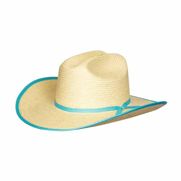 Sunbody Hats Kids Cattleman Natural/Turquoise Bound Edge