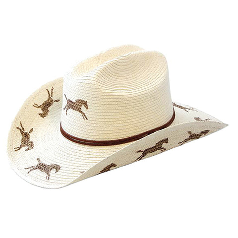 Sunbody Hats Kids Running Horses Cattleman Natural