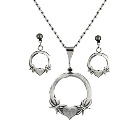 Montana Silversmiths Western Claddagh Barbed Wire Heart Jewellery Set JS1119MA