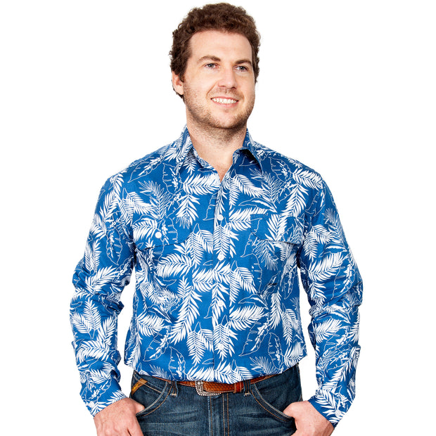 Men's -  Austin - Full Button MWLS2029 Blue Leaves