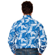 Men's -  Austin - Full Button MWLS2029 Blue Leaves back