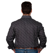 Men's - Austin - Full Button Black Paisley MWLS2032 back