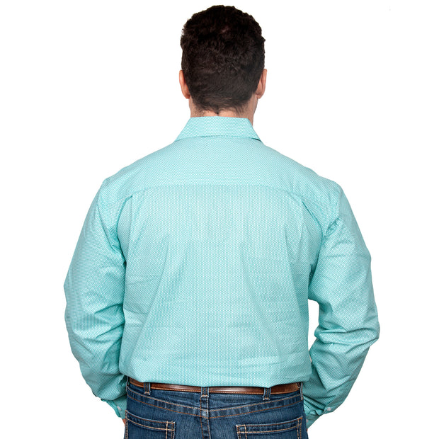 Just Country Men's - Austin - Full Button Turquoise / White Dots MWLS2123 back