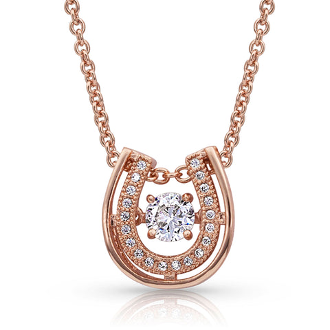 Montana Silversmiths Dancing with Luck Rose Gold Horseshoe Necklace