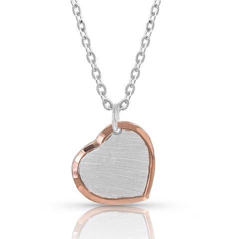 Montana Silversmiths Perfectly Paired two-tone Heart Necklace NC4452RG