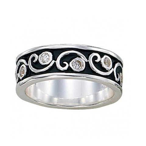 Montana Silversmiths Silver and Crystal Filigree Band Ring RG18CZ