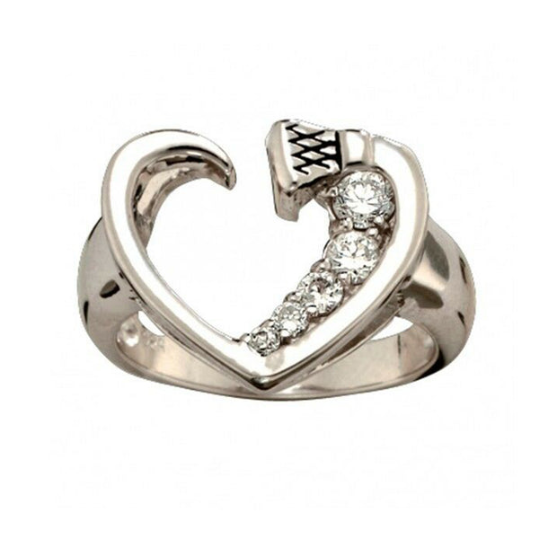 Montana Silversmiths Silver and Shine Horseshoe Nail Heart Ring RG30CZ