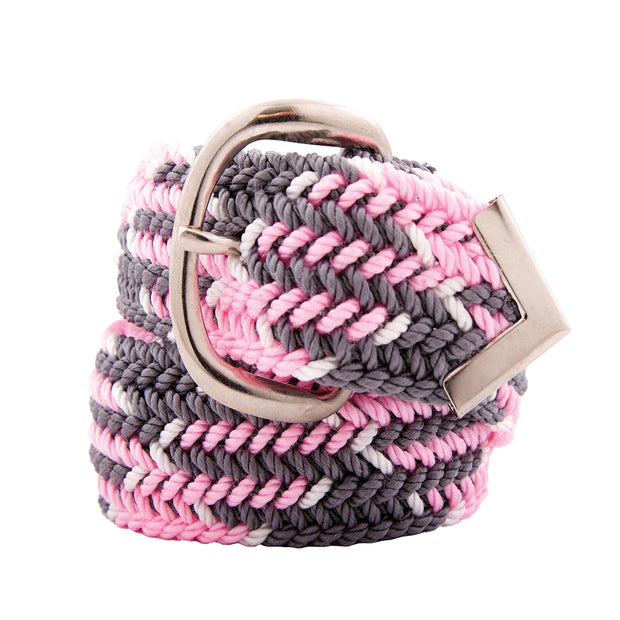 Nylon Web Belt Pink / Grey / White