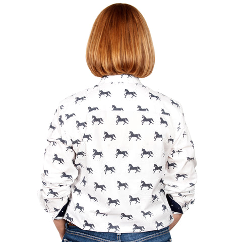 Just Country Women's - Abbey - Full Button White Horses WWLS2030 back