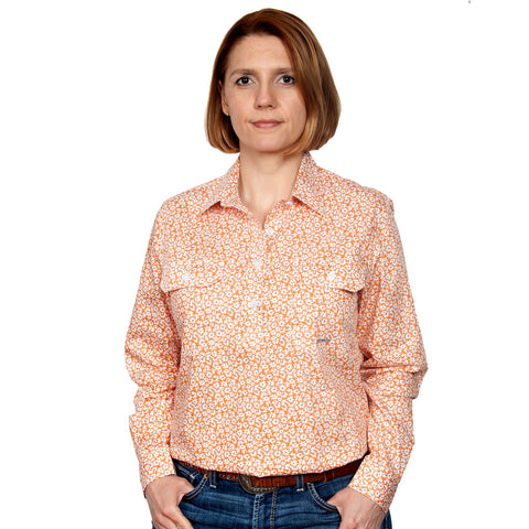 Just Country Women's - Georgie - 1/2 Button Workshirt Tangarine Daisys WWLS2109