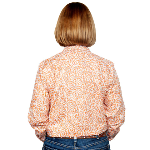 Just Country Women's - Georgie - 1/2 Button Workshirt Tangarine Daisys WWLS2109 back
