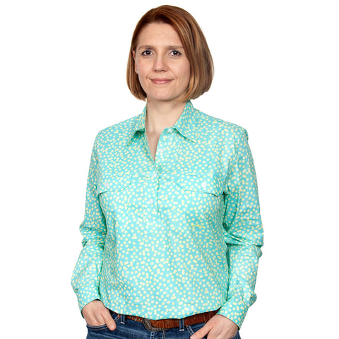 Just Country Women's - Georgie - 1/2 Button Workshirt  Aqua / Butter Spots
