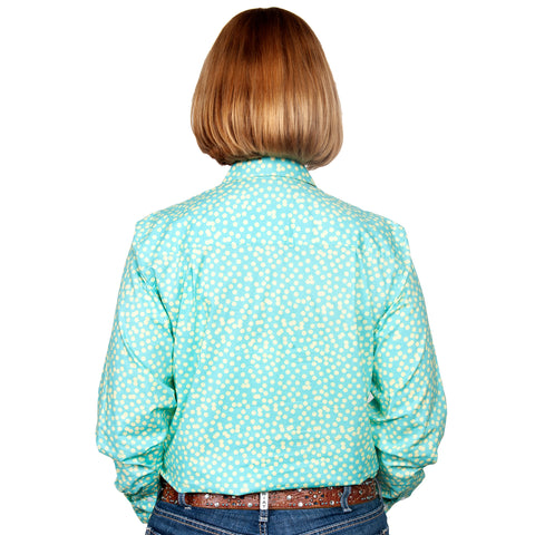 Just Country Women's - Georgie - 1/2 Button Workshirt  Aqua / Butter Spots back