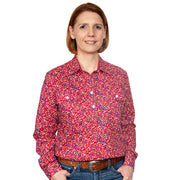 Just Country Women's - Georgie - 1/2 Button Workshirt Port Red Floral WWLS2120