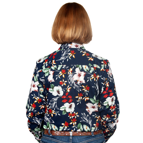 Just Country Women's - Abbey - Full Button Workshirt Navy Hibiscus WWLS2128 back
