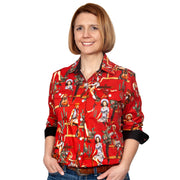 Just Country Women's - Abbey - Full Button Workshirt Chilli / Black Vintage Rodeo WWLS2133