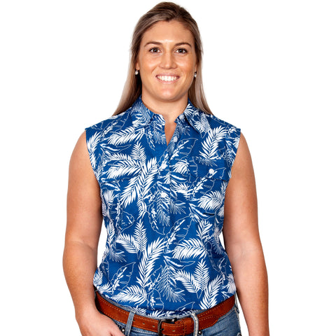 Just Country Women's - Lilly - 1/2 Button Sleeveless Blue Leaves WWNS2029