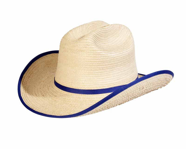 Sunbody Hats Kids Cattleman Natural/Royal Blue Bound Edge