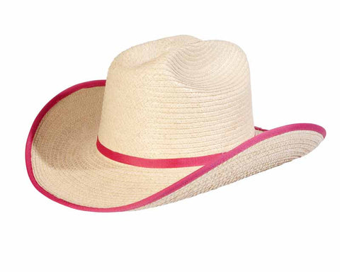 Sunbody Hats Kids Cattleman Natural/Shocking Pink Bound Edge