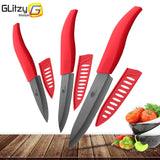 Ceramic Knife 3 4 5 inch Set Zirconia Black Blade Kitchen Chef Knives Three Piece Set Fruit Vegetable Color Anti-Slip Handle