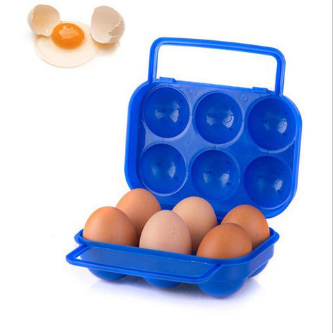Hot sale Portable 6 grid Eggs Plastic Container Holder Folding Egg Storage Box Handle Case Lightweight easy to carry Eggs Box