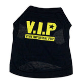 Hot item! Pet Dog Cat Puppy Black Cotton Blend T-Shirt VIP Pattern Vest Apparel Clothes