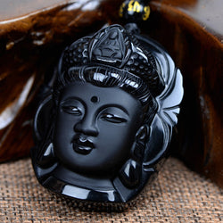 Natural Obsidian Black Buddha Head Pendant