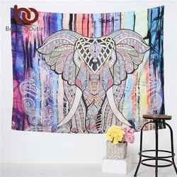 Elephant Tapestry Colored Printed Decorative Mandala