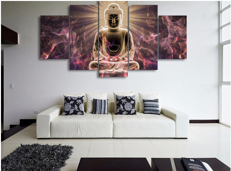 5 PIECES WALL ART BUDDHA CANVAS PAINTING