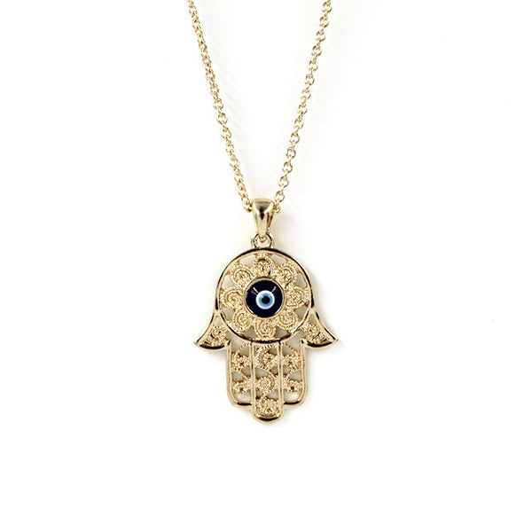Gold Necklace with Blue Eye Hamsa Hand For Good Luck Protection