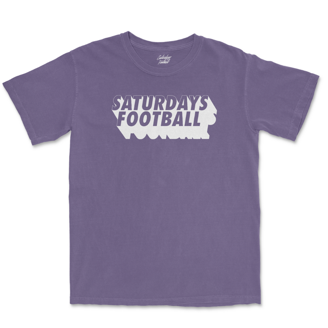 Saturdays Football Drop Logo Tee - Washed Eggplant