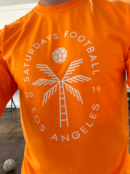 Saturdays Football Palm Tee - Safety Orange