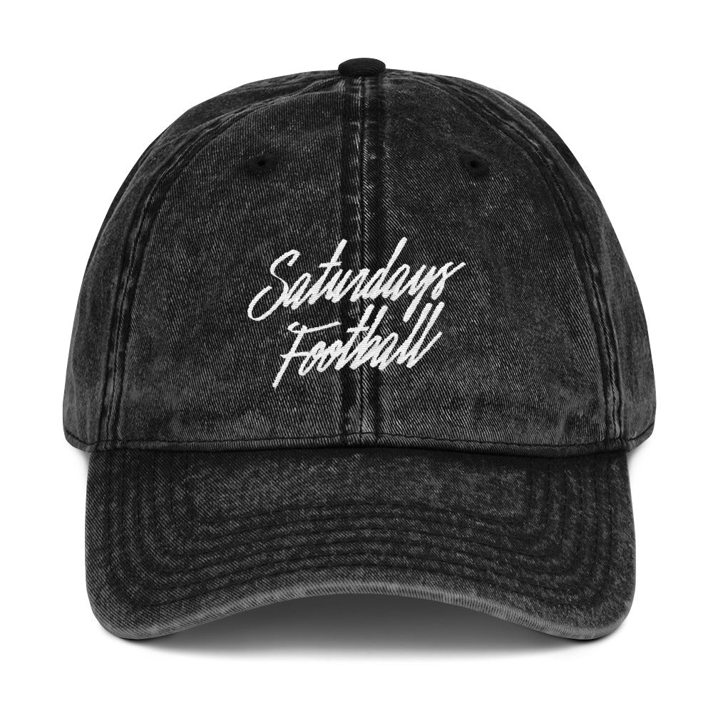 Black Vintage Cotton Twill Saturdays Football Dad Cap