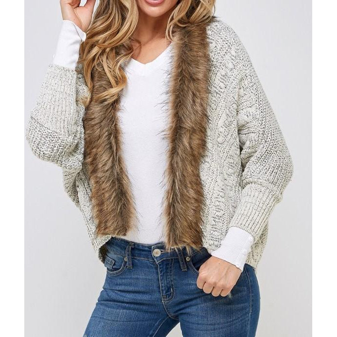 #8576 Fur Trimmed Cardigan