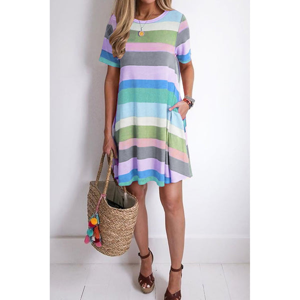 #8624 Pastel Striped Beach Dress
