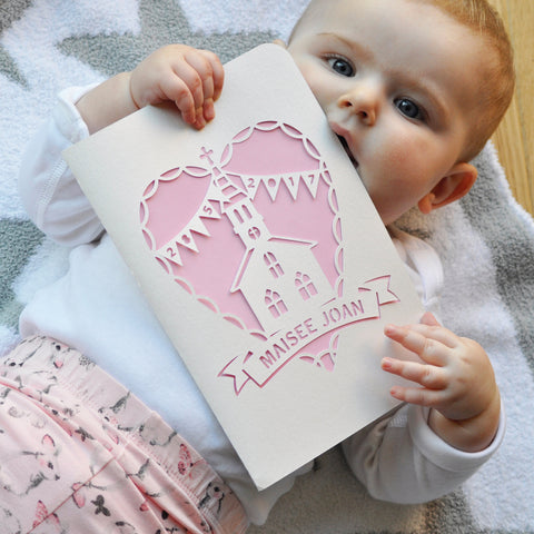 With Love, Christening Paper Cut Card