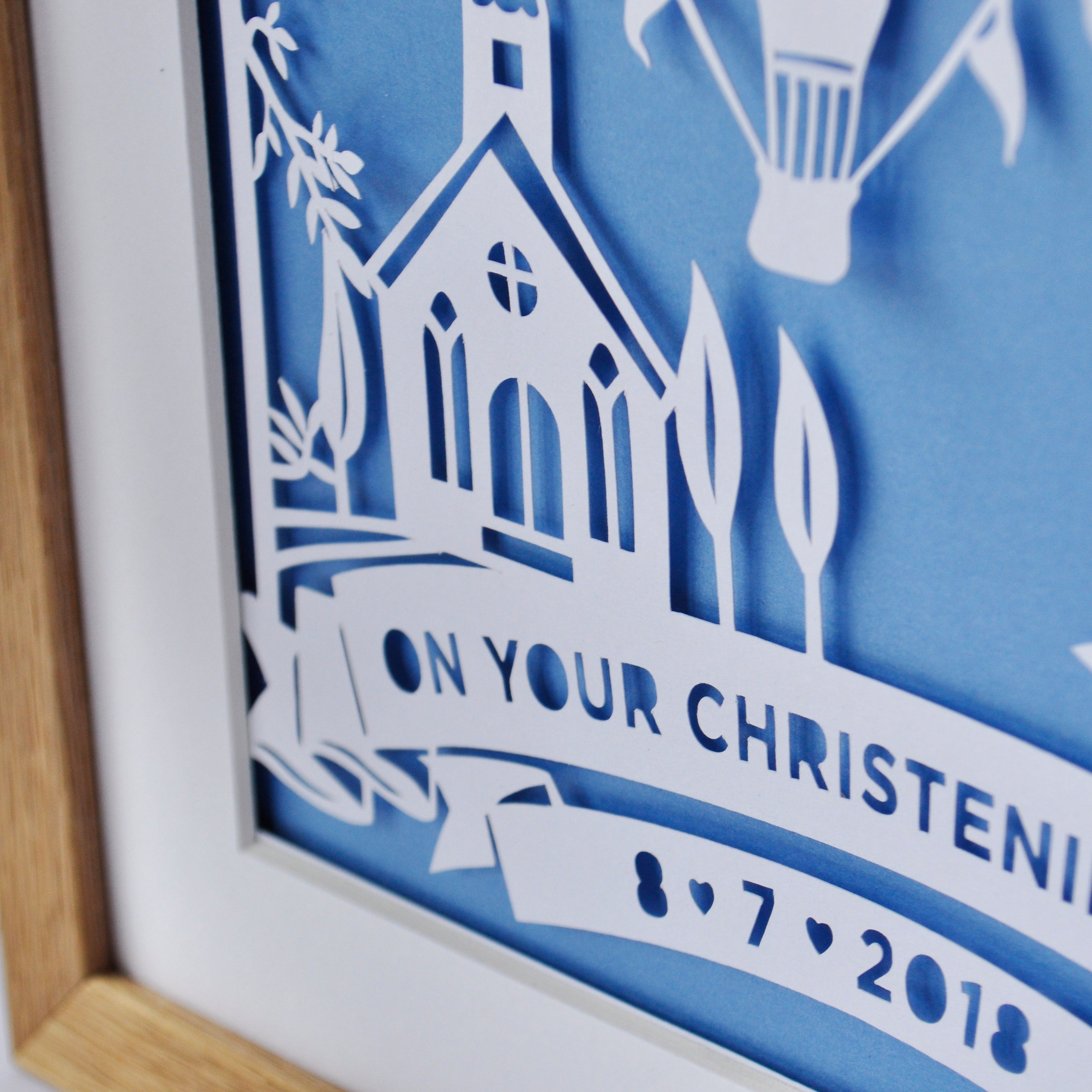 Christening Hot Air Balloon Papercut or Print