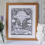 Load image into Gallery viewer, Christening Hot Air Balloon Papercut or Print